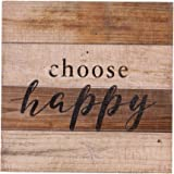 """NIKKY HOME Rustic Wall Art Quoted """"choose happy"""",11.93 x 11.93 In"""