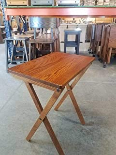 product image for Oak Folding TV Tray Set with Storage Stand - Michaels Cherry Stain - Amish Made in USA