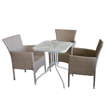 Bistromöbel Set Bistrotisch, Glastisch, Metall, 60x60cm, Weiß + 3x
