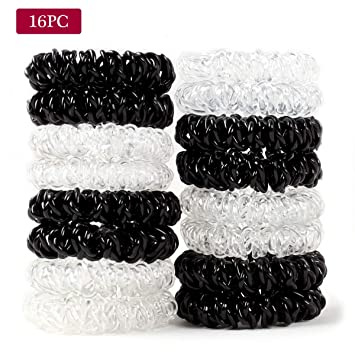 Amazon.com   16Pcs Plastic Hair Ties Spiral Hair Ties No Crease Coil Hair  Ties Ponytail Holder   Beauty 7e556a85451