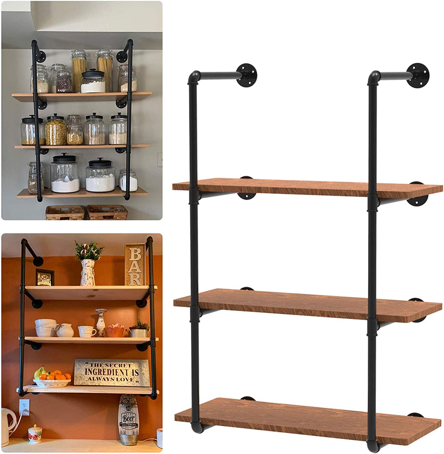 Industrial Wall Mount Iron Pipe Shelf Brackets Vintage Retro Black Pipe Shelving for DIY Shelves Open Bookshelf Storage Office Room Kitchen - 4 Tier, Plank Board No Included