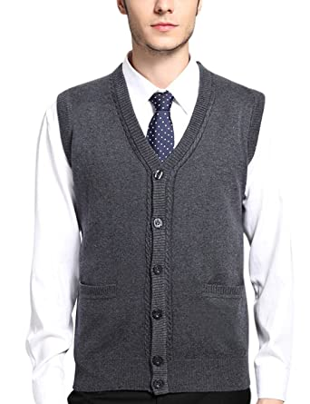 Yeokou Men's V Neck Wool Cashmere Sleeveless Button Down Sweater ...