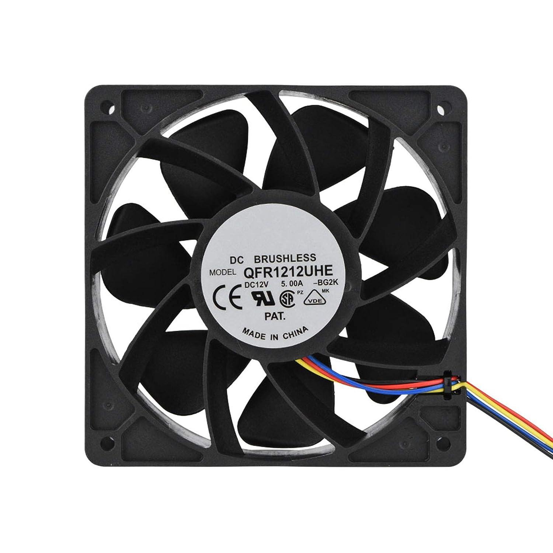 T opiky Ventilador universal de 12 cm, CC 12 V, 5,0 A, 7500 rpm, 280,38 CFM, repuesto del ventilador de 4 pines para Antminer S7 S9