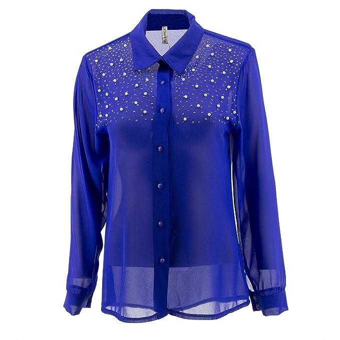 Netgozio Blusas de Gasa de Las Mujeres Camisa Casual Elegante suéter de la Perla Strass Proto