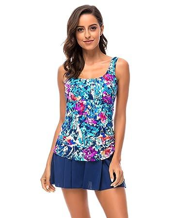 iDrawl Blau Damen Bademode Große Größen Badeanzug Push Up Badekleid  Einteiler mit Blumen Schwimmanzug Figurformender, ba42c115c2