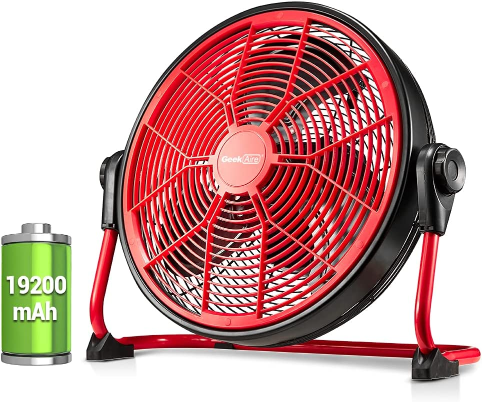 Geek Aire 19200mAh 16-Inch Rechargeable Battery Operated Floor Fan, Powered High Velocity Air Circulating Fan, Up to 24 Hours, Portable Metal Fan for Outdoor Camping Golf Car, Travel Hurricane, Indoor