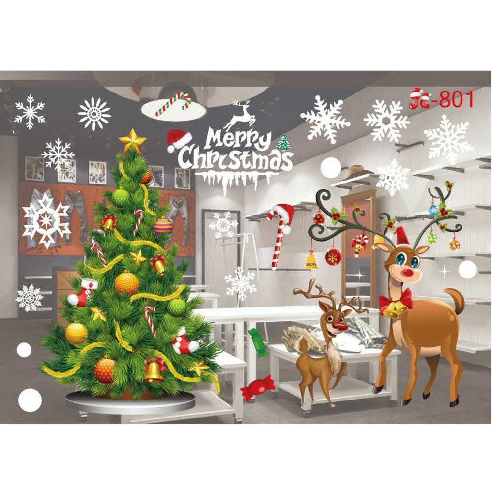 Clearance!! ZOMUSA Festival Christmas Glass Wall Decoration Removable Wall Sticker Christmas Tree Gifts Socks Santa Claus Print Wall Decals (A) ZOMUSA Co. Ltd ZOMUSA1001
