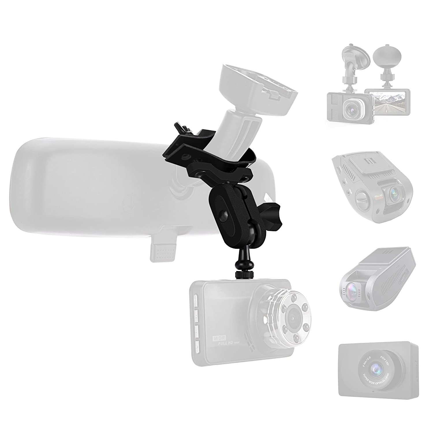 Dash Cam Suction Cup Mount and 3M Adhesive Mount for Dash Camera, Come with 15+ Different Joints Suitable for TOGUARD, apeman, Yi, Mibao, SuperEye, Modohe,DuDuBell,Crosstour nd Most Other Dash Cameras SoeKoa