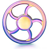 Fidget Spinner High Speed Stainless Steel Bearing ADHD Focus Anxiety Relief Toys(Round_Rainbow)