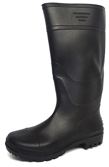 New Mens/Gents Black Full Length Rubber Waterproof Wellington Boots. -  Black - UK