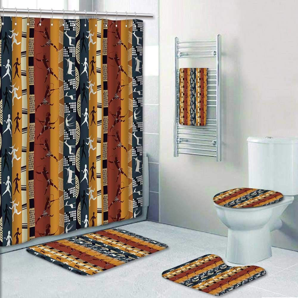 Philip-home 5 Piece Banded Shower Curtain Set Seamless African with Figures of Primitive People and Animals Decorate The Bath