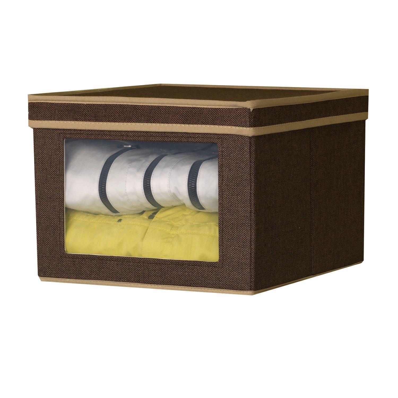Amazon.com: Household Essentials 634 Vision Storage Box | Brown Coffee  Linen | Large: Home U0026 Kitchen