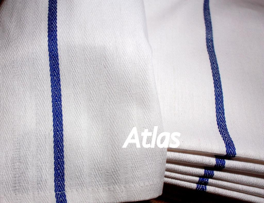 Atlas 48-Pack Kitchen Dish Towels - White, Low Lint, Prof Grade 24 Oz, 100% Cotton Tea Towel With Herringbone Weave, Exceptional Absorption. Preferred by Chefs, BLUE STRIPE 14.5x25.5'' Eco-Friendly