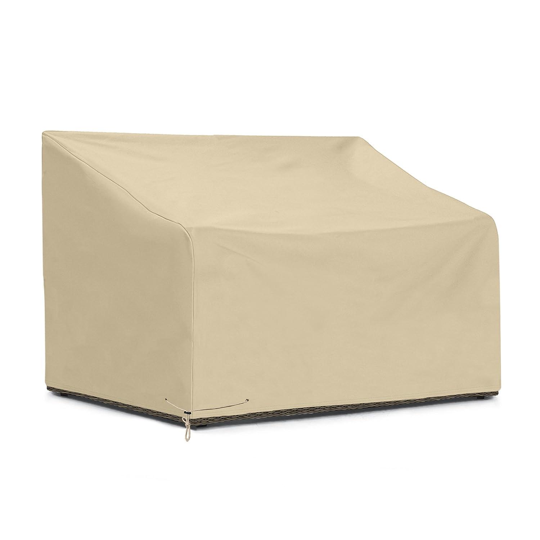 Amazon com sunpatio outdoor deep sofa cover waterproof loveseat furniture cover 54l x 40w x 32 22h beige garden outdoor