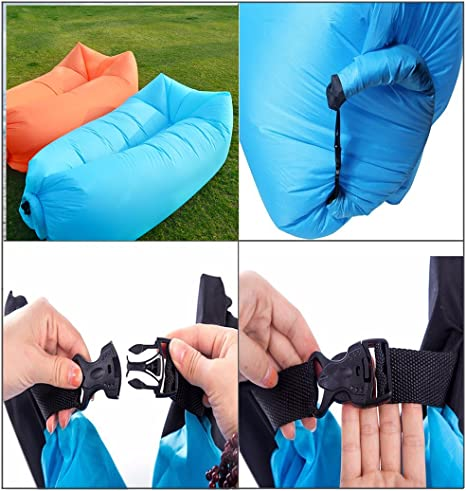 JINGOU - Tumbona inflable con bolsa de transporte; para uso en ...