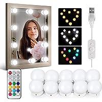 Idesign Led-lichtset, spiegel, 10 lampen, make-up, lichtsnoer voor make-uptafel met USB-kabel, afstandsbediening, RGB, 6500 K, 12 kleuren en 36 lichtmodi, verbonden in serie