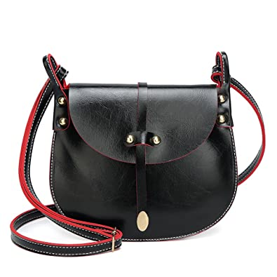 862d1ef6e41 Rawdah Fashion Women Rivets Leather Hit color Crossbody Shoulder Hand Bag  Pink Black Yellow travelling sale