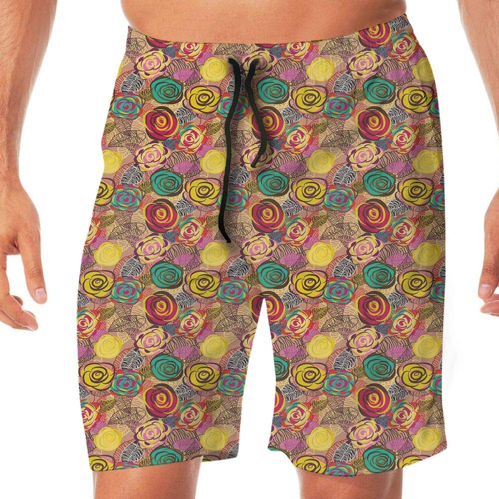 Haixia Mens Lightweight Swimming Trunks Abstract Surreal Floral Arrangement Lil