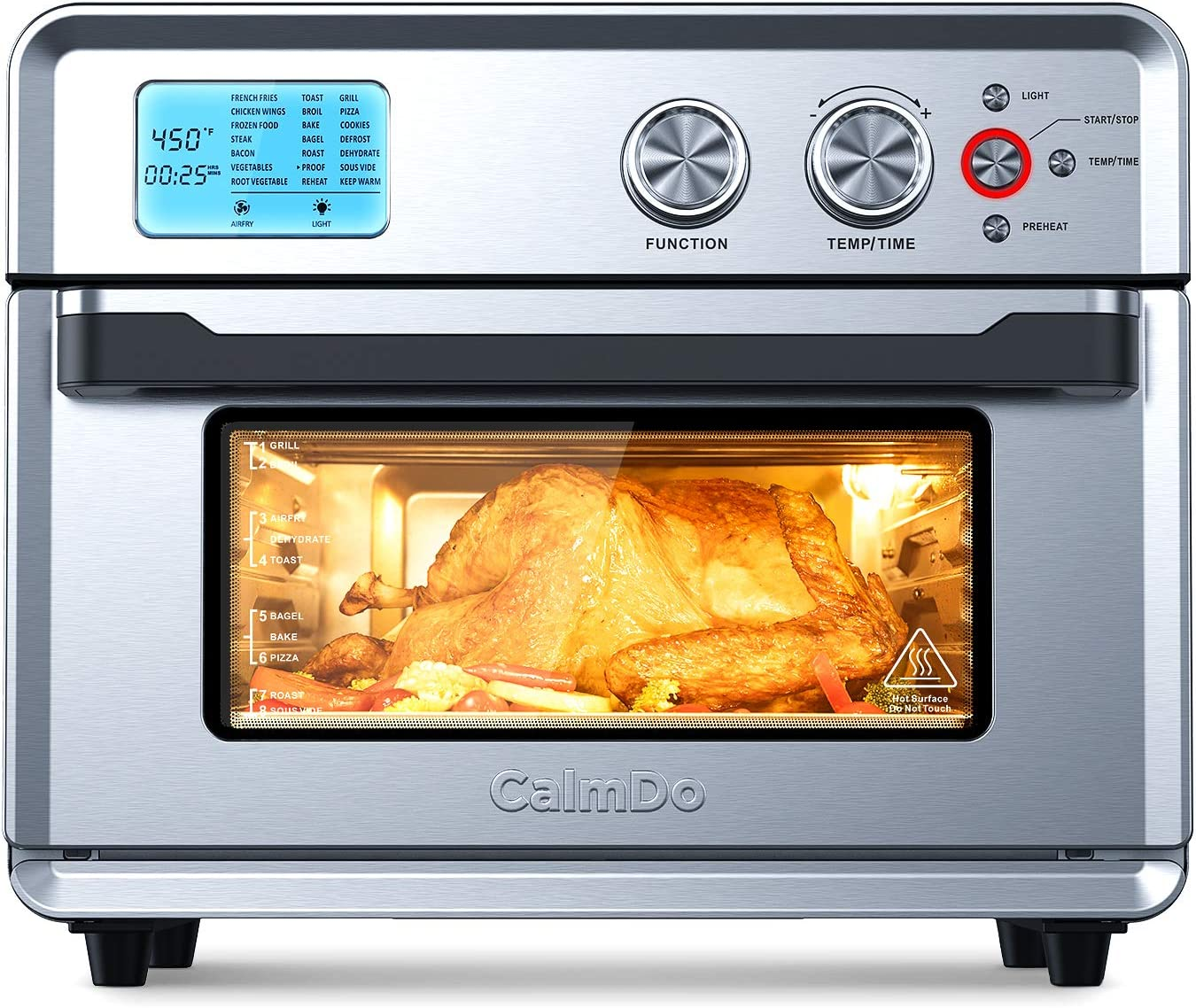 CalmDo Air Fryer Toaster Oven, 26.3 QT Convection Toaster Oven Airfryer with 21 Preset Cooking Functions for Bake, Pizza, Defrost, Sou Vide and Food Dehydrator, Oven Mitts & Recipes Included, Silver