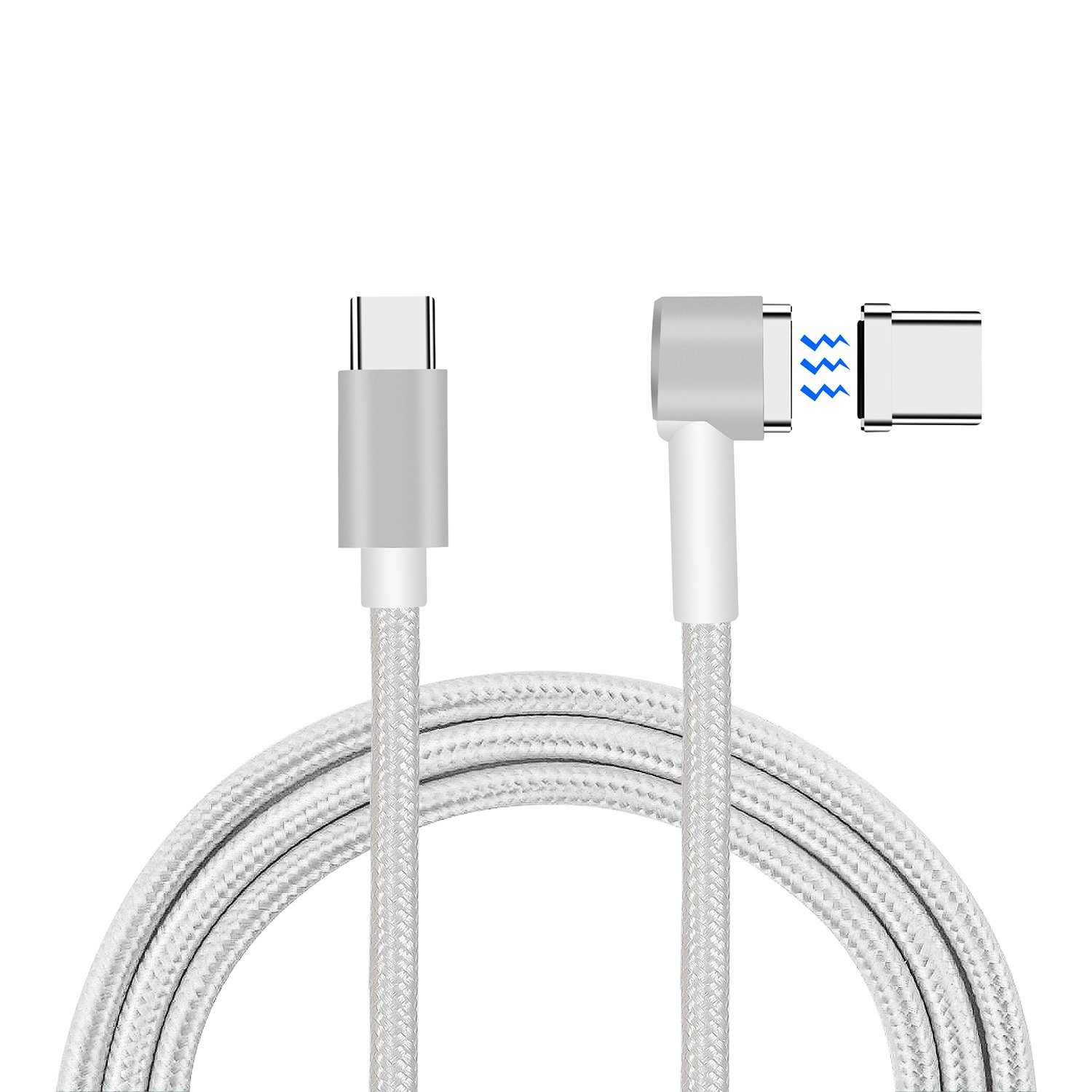 Magnetic USB C Cable For MacBook(Pro),Seekermaker Magnetic Charger for Macbook Pro, Chromebook Pixel, Samsung Galaxy Book, Samsung Galaxy S8, Huawei P9&P10, etc.(silver)