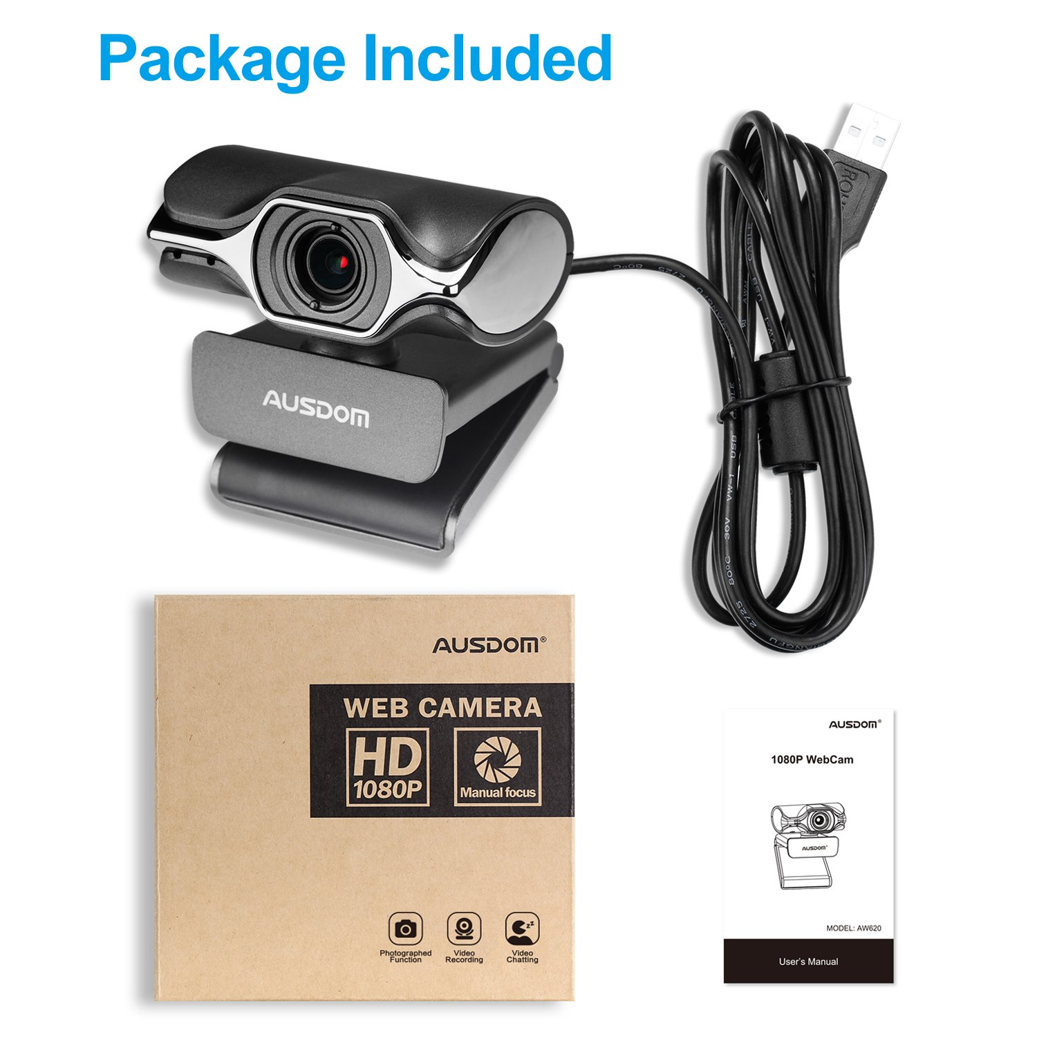 Stream Webcam Full 1080p HD Camera for Computer Web Camera with Built-in Noise Reduction Microphone PC or Laptop Camera for OBS Twitch Skype YouTube
