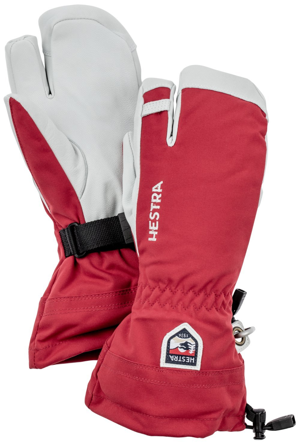 Hestra Army Leather Heli Ski 3-Finger Gloves with Gauntlet,Red,10 by Hestra