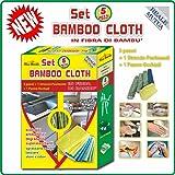 Set Bamboo Cloth 5 PEZZI 3 Panni + 1 Straccio Pavimenti + 1 Panno Occhiali antibatterico