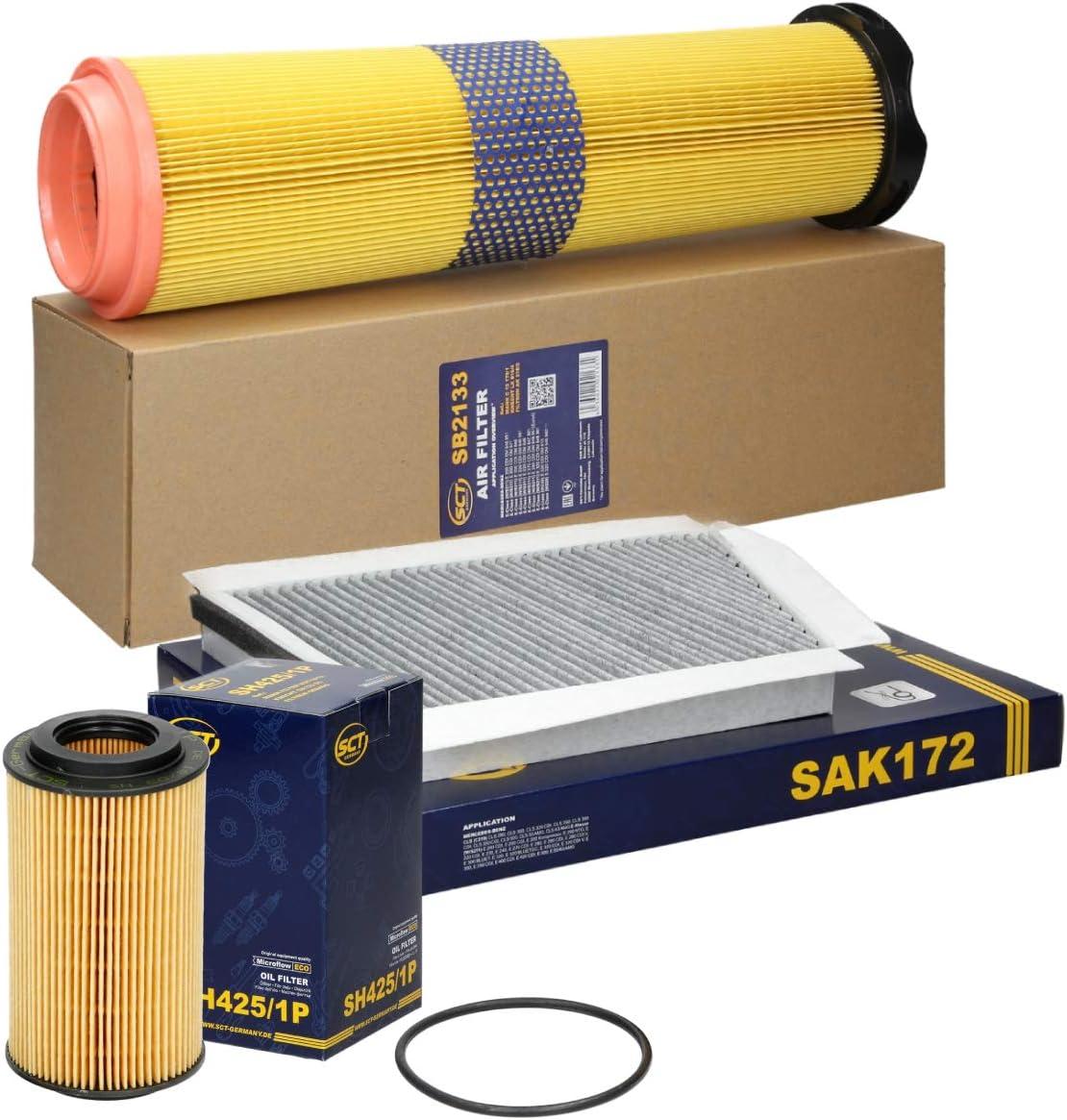 Sct Germany Inspektionspaket Wartungspaket Filterset 1 X Luftfilter 1 X Innenraumfilter Mit Aktivkohle 1 X Ölfilter Auto