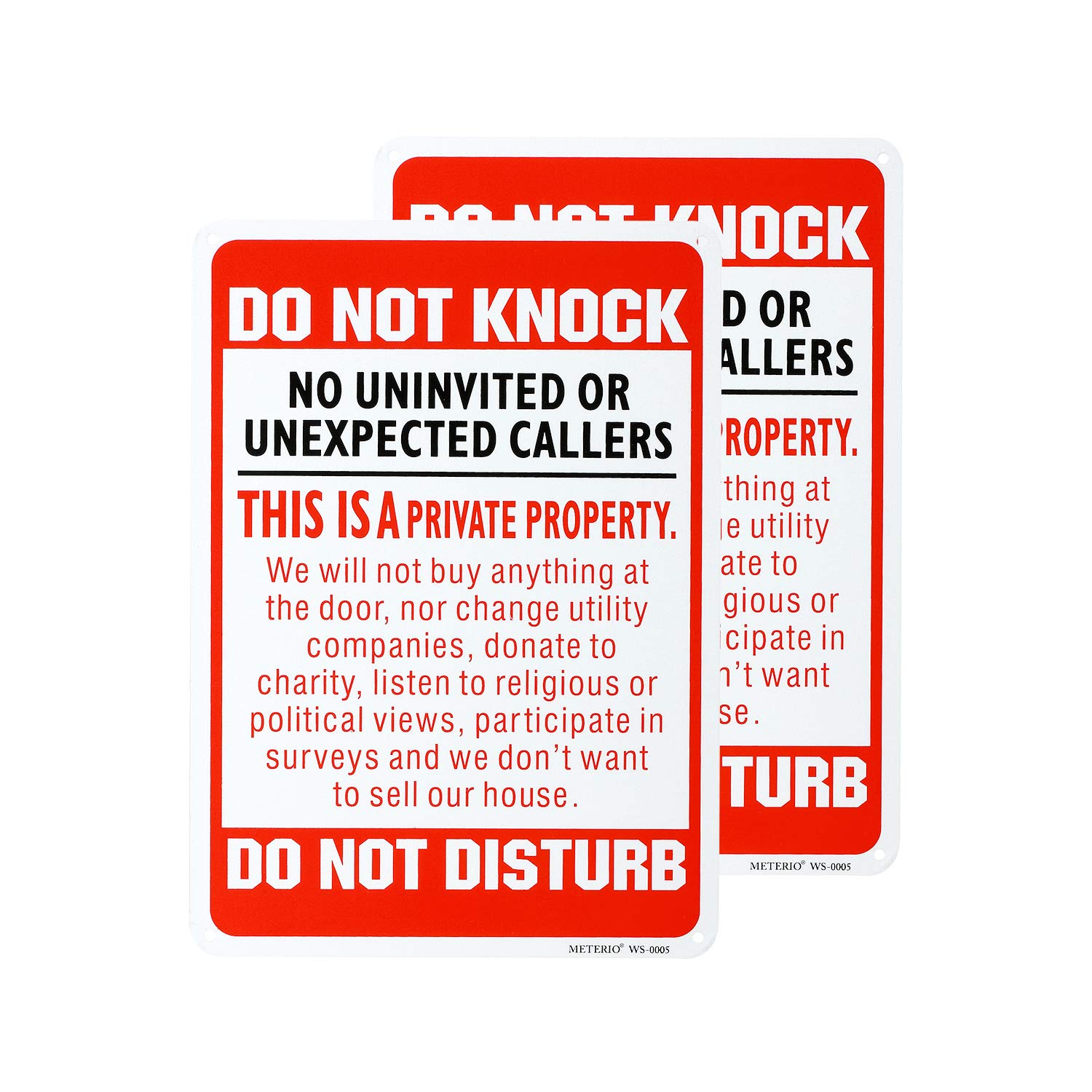 METERIO Do Not Knock Do Not Disturb Sign, Aluminum Reflective Warning Sign, UV Protected and Waterproof, Indoor Or Outdoor Use for Home Business Security, 7
