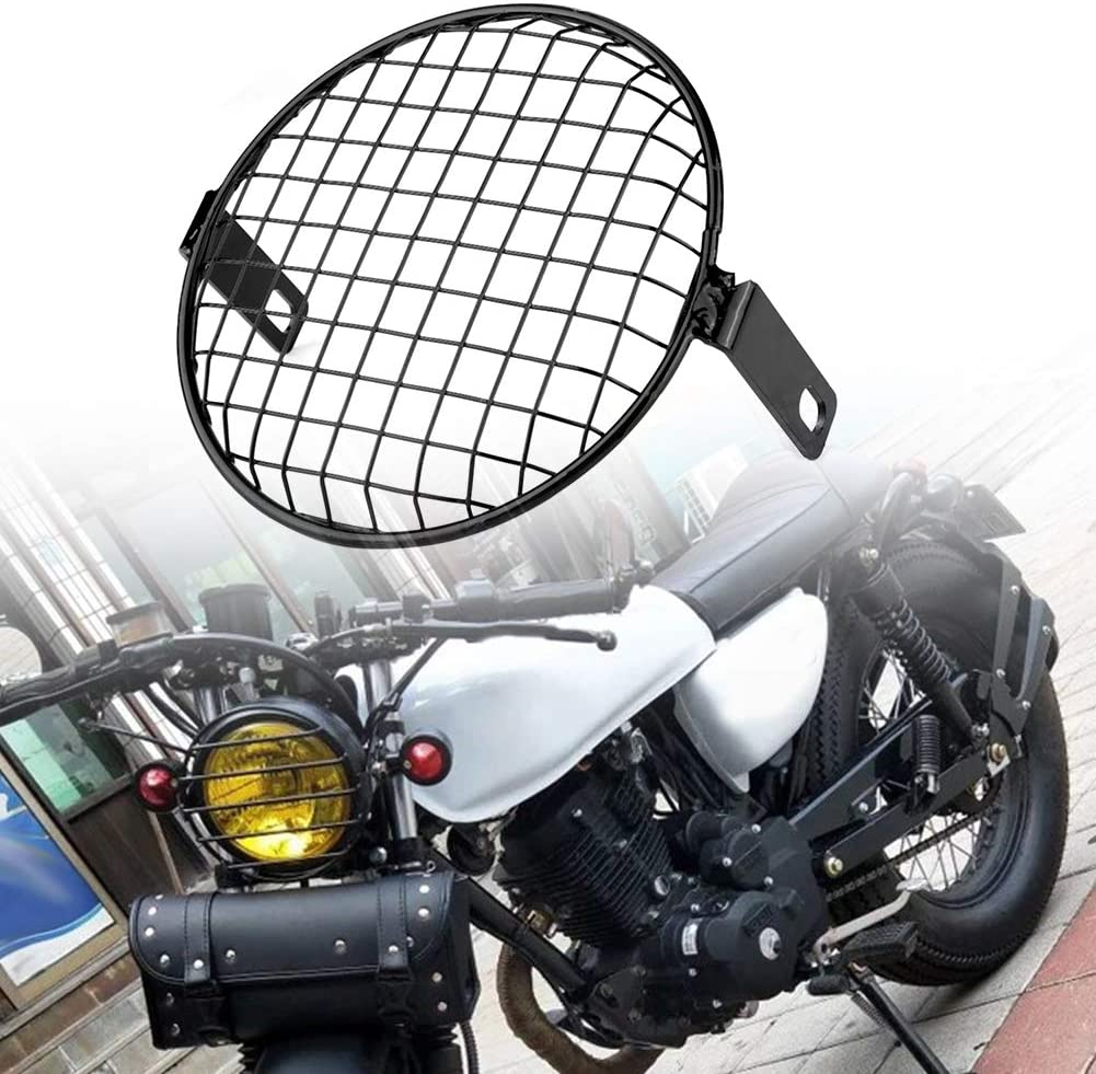 EBTOOLS 5.75 Inch Motorcycle Iron Headlight Grill Round Cover Grid Mask Black Headlight Grill Cover