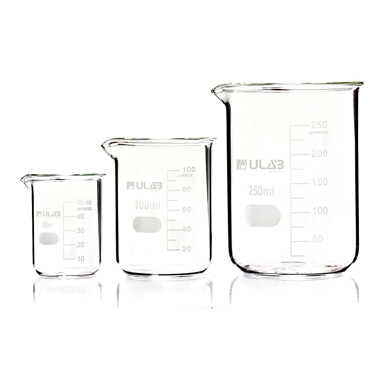 ULAB Scientific Glass Beaker Set, 3 Sizes 50ml 100ml 250ml, 3.3 Boro Griffin Low Form with Printed Graduation, UBG1001