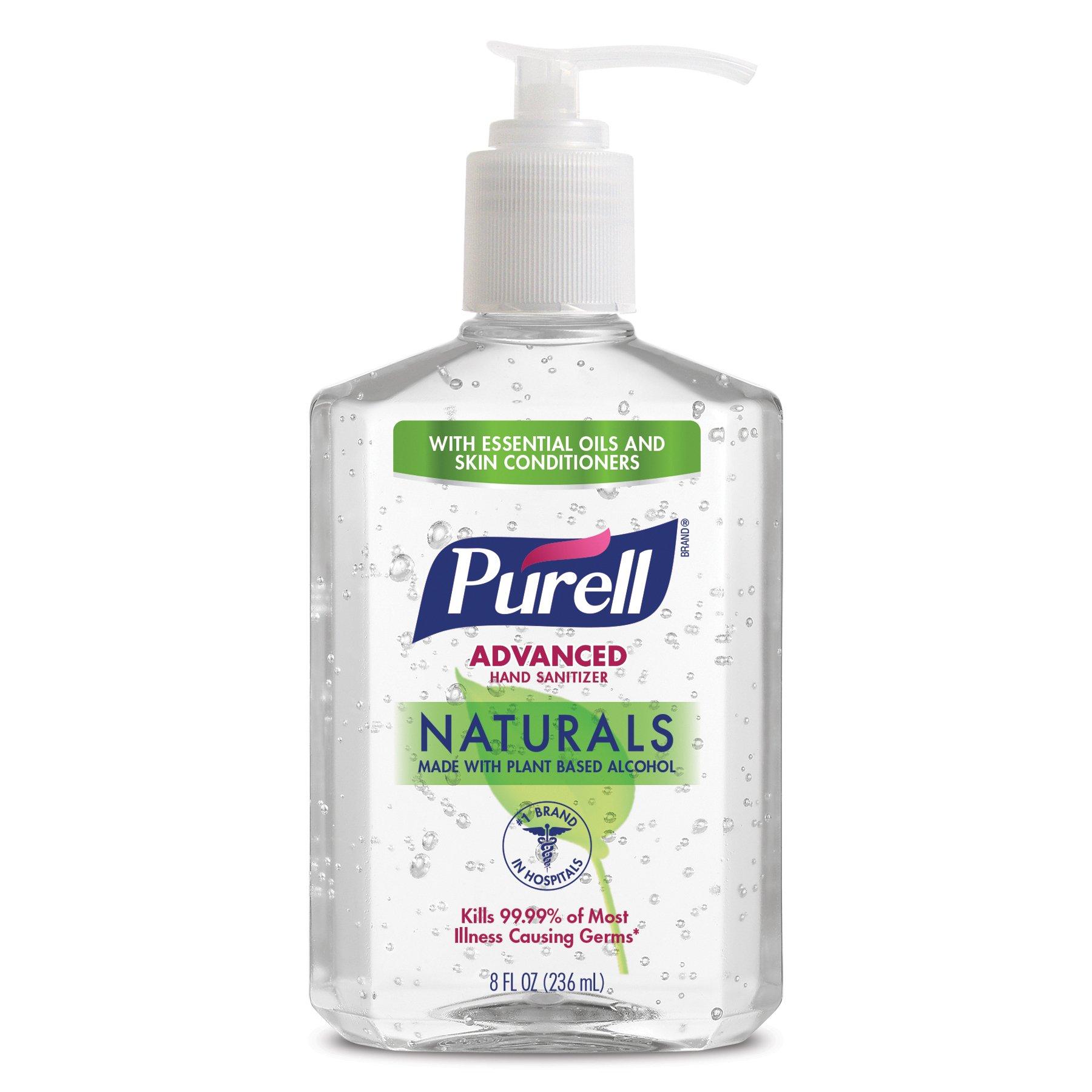 Purell 9626-12-CMR Advanced Hand Sanitizer Naturals 8oz Pump Bottle (Pack of 12)