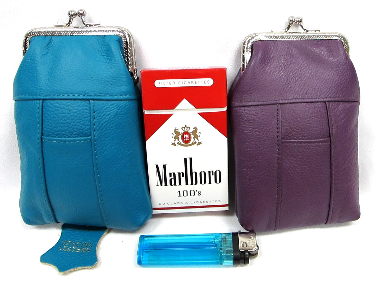 2pc SET Genuine Leather Cigarette Case Pouch PURPLE + BLUE-GREEN Fit 100s, King Regular Pack