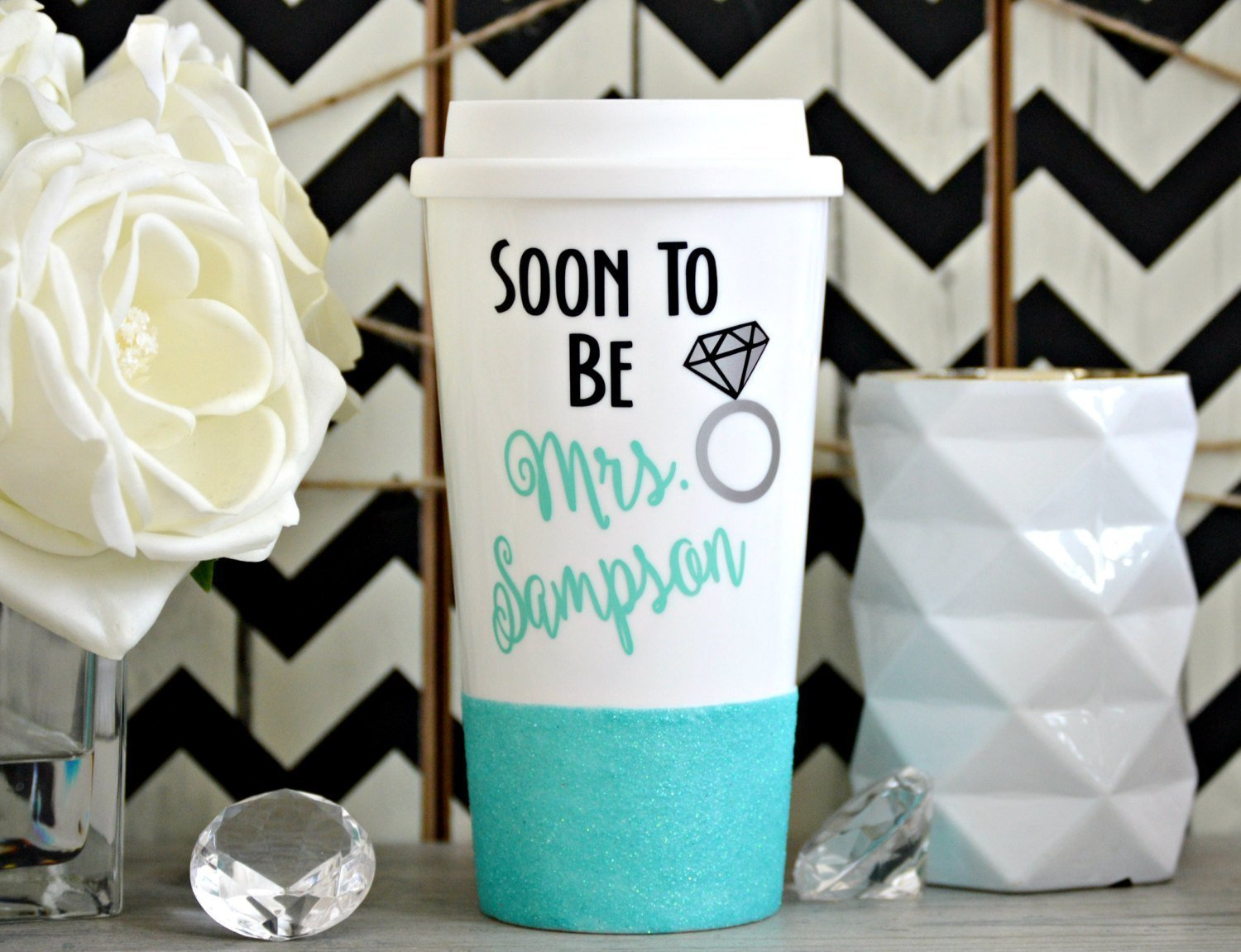 Engagement Mug, Future Mrs Mug, Engagement Gift, Future Wifey Mug, Future Wife Gift, Just Engaged Gift, Bride Gift, Glitter Coffee Mug