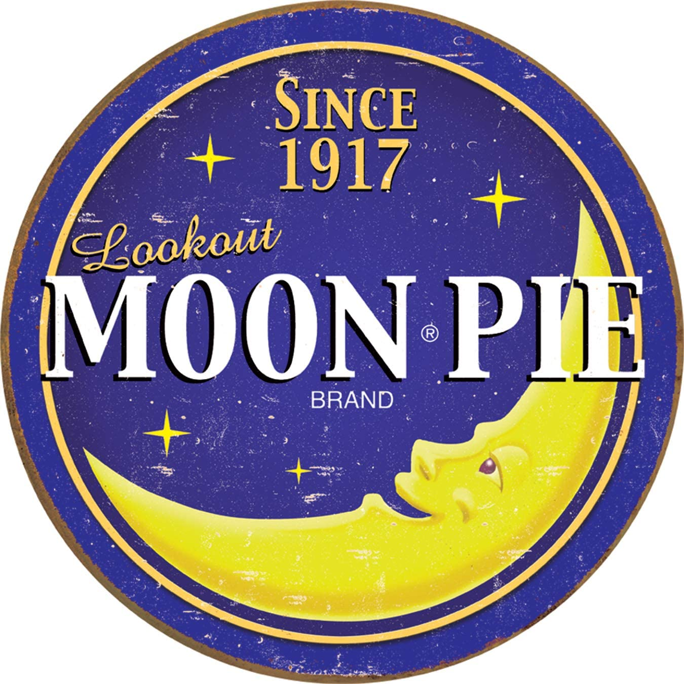 "Desperate Enterprises Moon Pie Round Logo Tin Sign, 11.75"" Diameter"