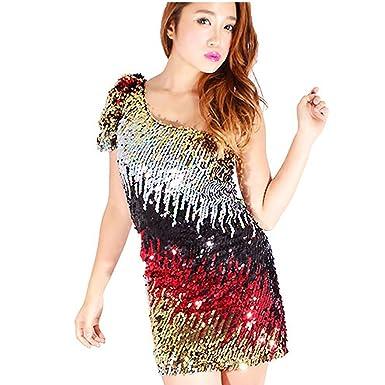 dd67e09ddf61b スパンコール 衣装 ワンピース ドレス ダンス衣装 ダンスドレス アシンメトリー ブラック・ピンク・ゴールド・グリーン