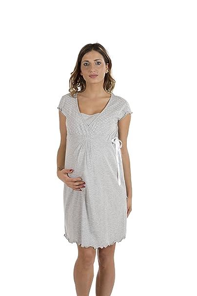 Premamy - Premamá Camisón De Embarazo Y Lactancia Para Mujer - Color: Gris - Tamaño