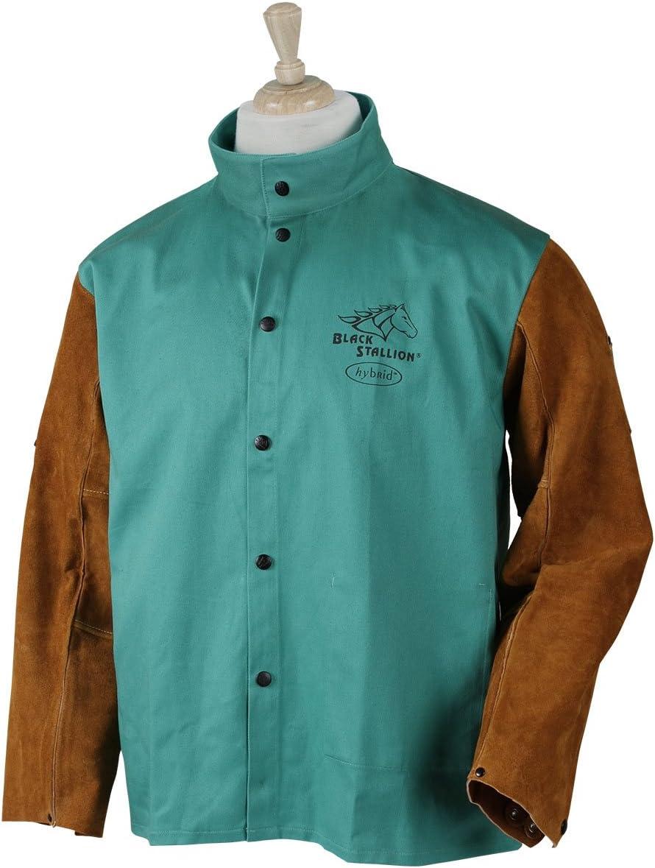 Black Stallion FRB9-30C Hybrid FR Cotton Cowhide Welding Jacket Blue Large