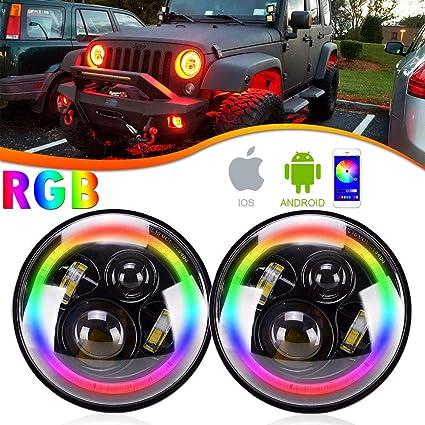 7 Led Headlights Bulb Rgb Halo Angel Eye With Bluetooth Remote For Jeep Wrangler Jk Lj Cj Hummer H1 H2 Headlamp Attractive Fashion Car Light Assembly