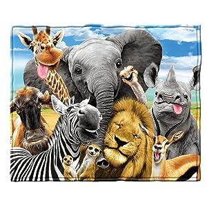 Dawhud Direct African Safari Animals Selfie Fleece Throw Blanket