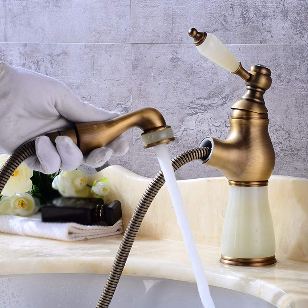 12 Hlluya Professional Sink Mixer Tap Kitchen Faucet Copper, jade, pull out and sink, hot and cold, and the sink Faucet 18