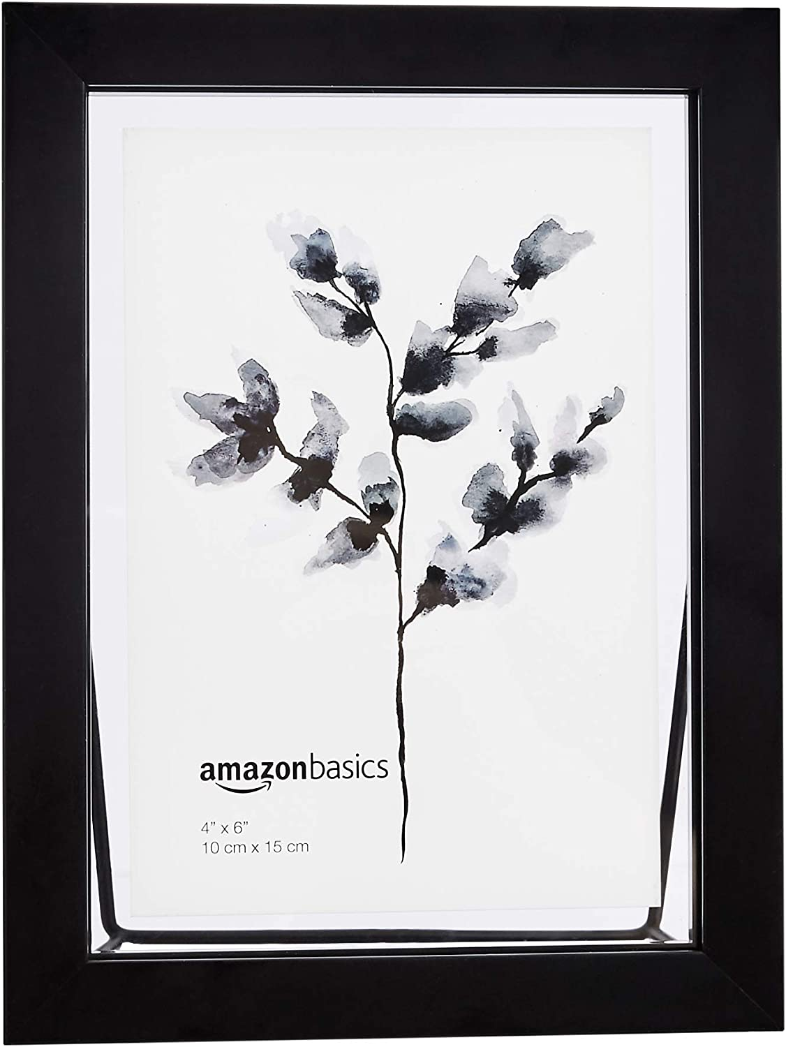 AmazonBasics Wedge Floating Photo Frame for 4 x 6 Inch Photos - Thick Frame, Black