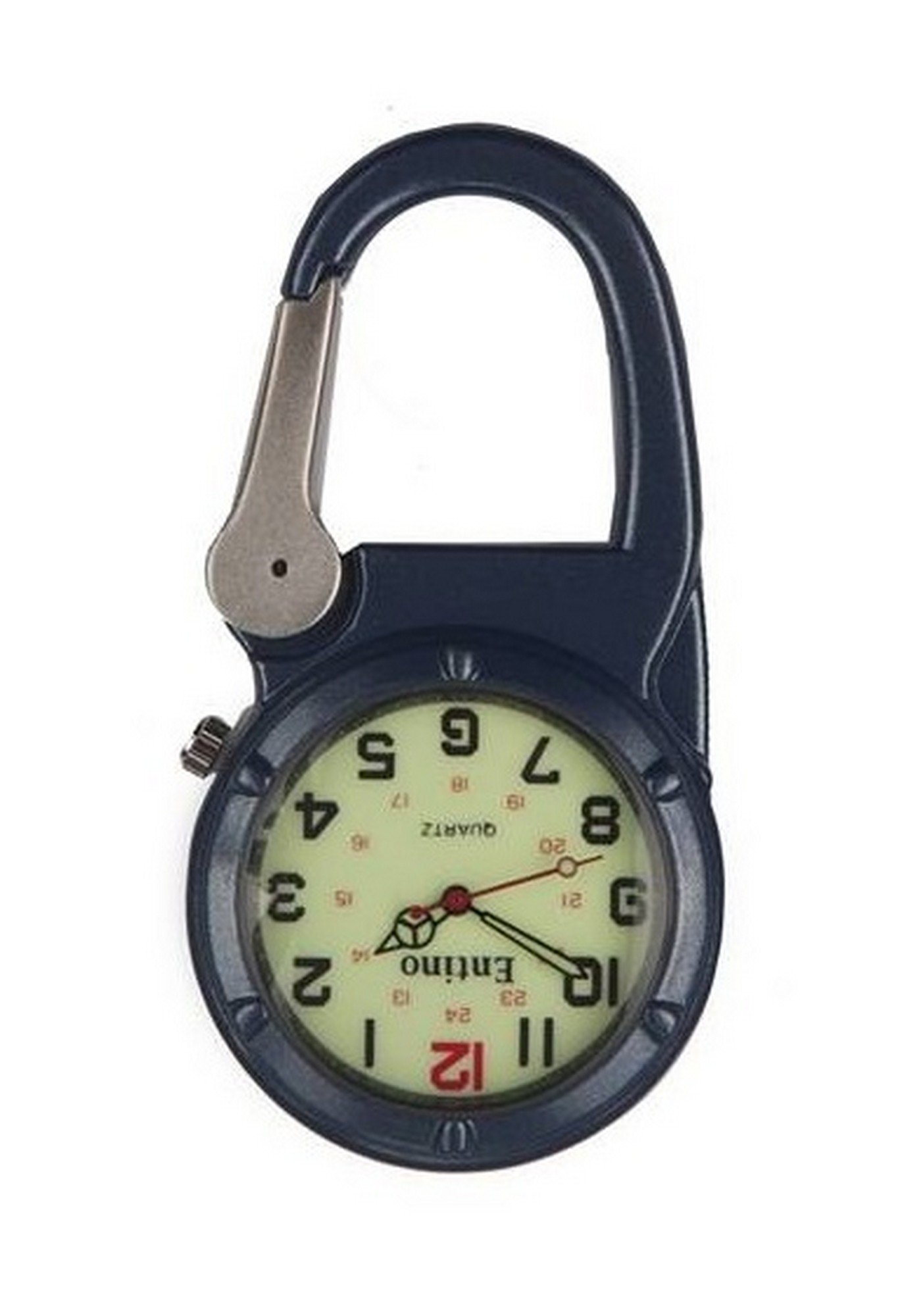 Entino Brand Silver Clip on Blue Carabiner Luminous Face Sturdy FOB Watch Doctors Nurses Paramedics Chefs Military Style