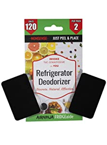 Fridge, Refrigerator and Freezer Deodorizer PATCH | DISCRETE Organic Odor Eliminator | Tough Smell Remover | BEATS Baking Soda & Activated Bamboo Charcoal | Fragrance & Chemical Free | 4 Months Supply