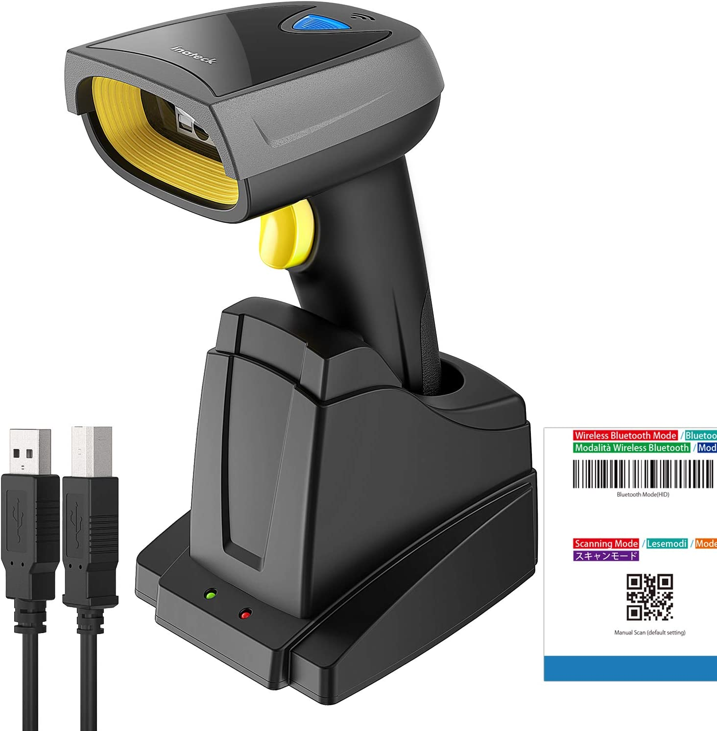 Inateck Barcode Scanner Wireless Automatic Scanning 35M Range 2600mAh Battery