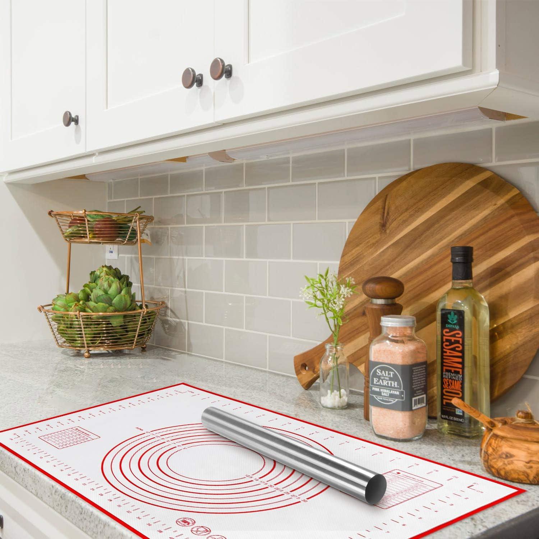 Esterilla de Silicona con Rodillo de Masa para Fondant Alfombrilla para Hornear Grande 60 x 40 cm de Silicona Masa con mediciones Yosemy Galletas Color Rojo Masa Acero Inoxidable