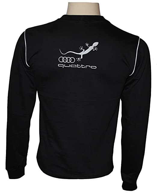 OTO-MOTO Audi Quattro Manga Larga Camisa Logotipo del Bordado Embroided Blusa Lana Negro algodón