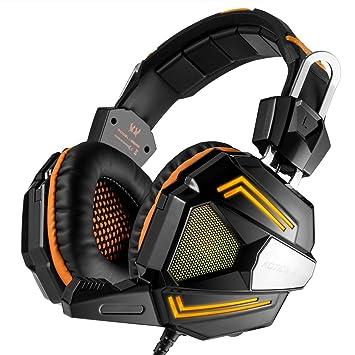 Casco del juegos, KOTION EACH Auricular Gaming ambiophonique y auriculares diadema estéreo con MIC LED