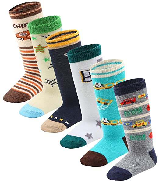 6 Pairs Unisex Baby Girl Boy Non-skid cotton Socks 1-10Y Baby