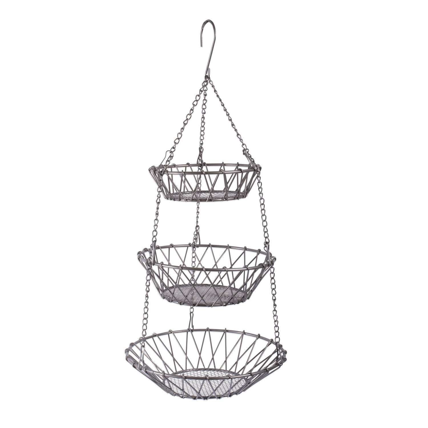 DII CBBB01331 3-Tier Fruit and Vegetable Basket with Sturdy Metal Chain Hanging Hook and Detachable Round Wire Nesting